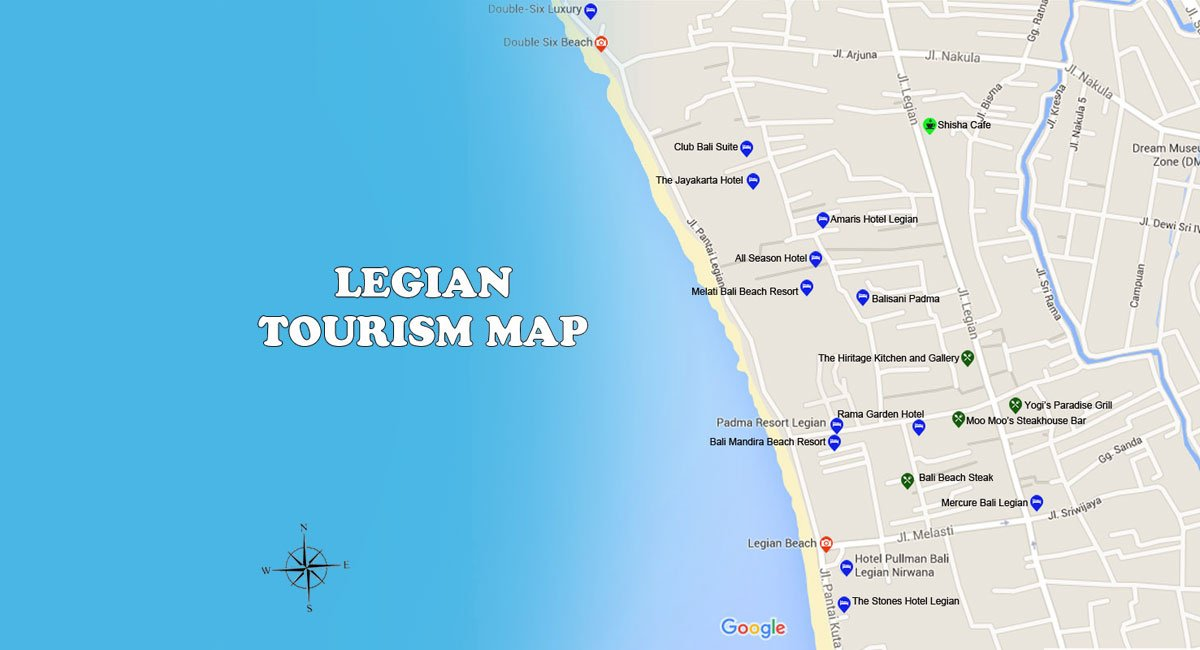 Legian Map | Bali Travel Guides