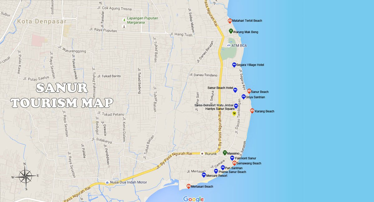 Sanur Map | Bali Travel Guides