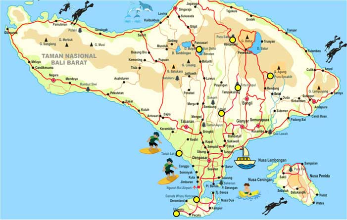 Bali Map Offers Complete Bali Tourism Maps | Indonesia Travel Guides