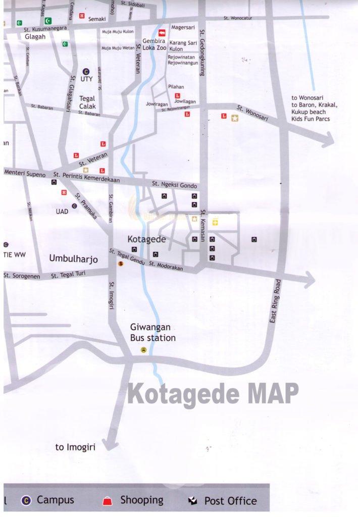 kotagede map, yogyakarta, tourism maps, yogyakarta tourism maps