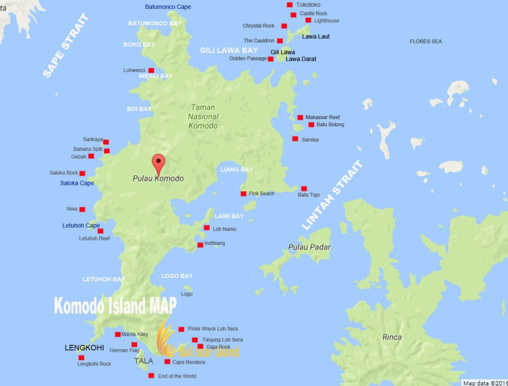 Komodo Island map, Komodo Island , Komodo national park, tourism maps, komodo national park tourism maps
