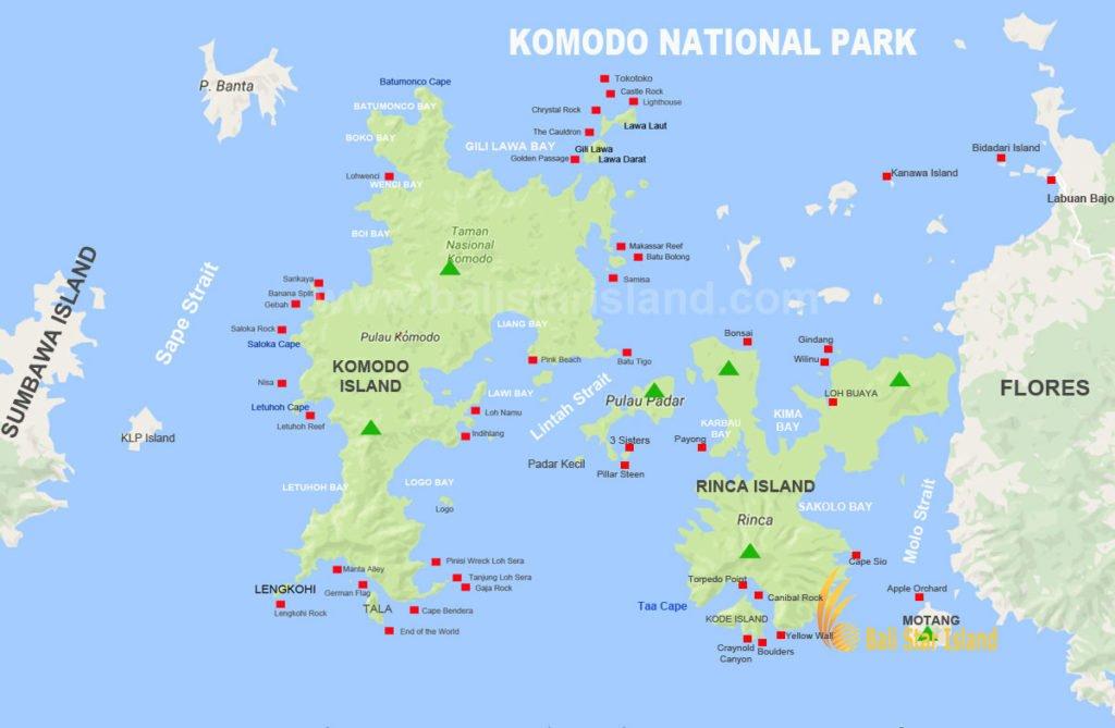 Komodo National Park, Komodo National Park map, tourism maps, komodo dragon tours, flores tourism maps