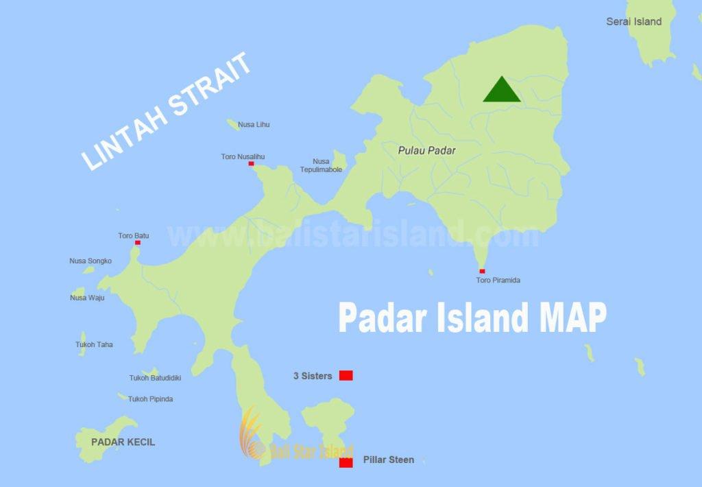 Padar Island, Padar Island map, komodo national park, tourism maps, komodo national park tourism maps