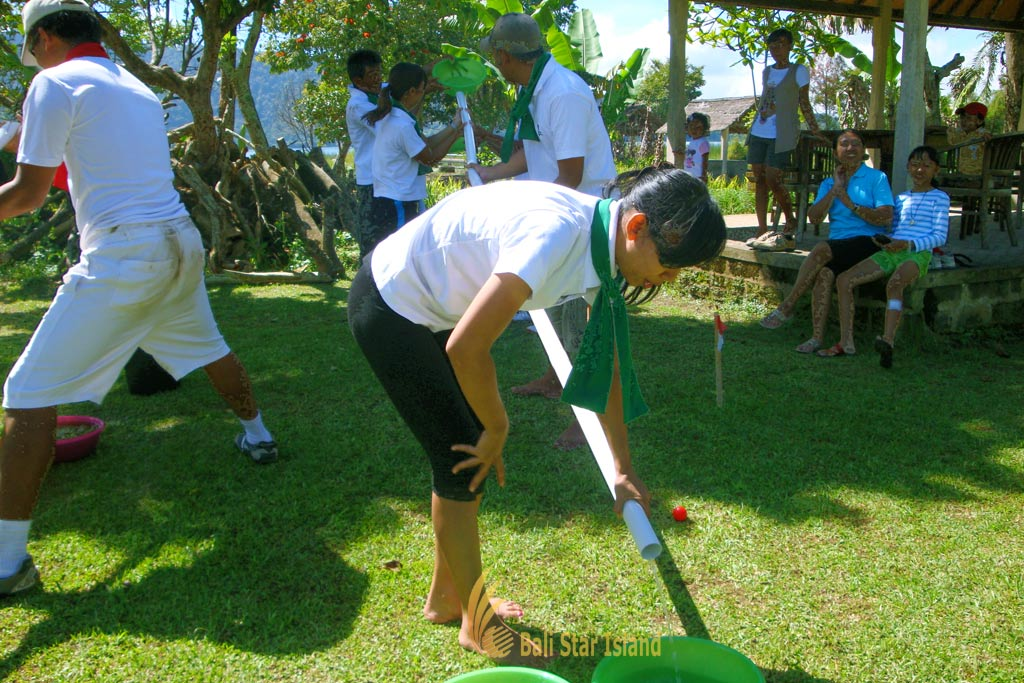 save holy water, save holy water game, garden team building, bali garden team building