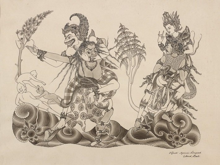 art painting, nyoman lempad, balinese art